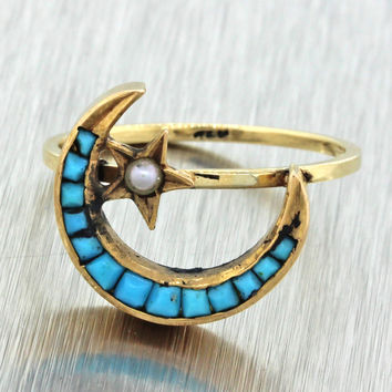 1880s Antique Victorian 14k Solid Yellow Gold Turquoise Pearl Star Moon Ring