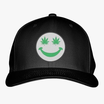 Weed Smiley Embroidered Baseball Cap