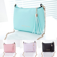 New Fashion 2015 Shell PU Leather Women Handbag Chain Women Shoulder Bag Tassel Crossbody Messenger Bags For Women Candy Color