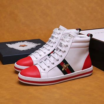 Gucci Men s Leather High Top Sneakers Shoes ab9e19dbe