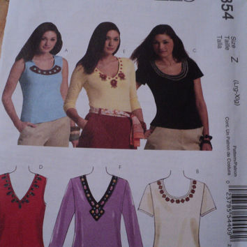 Sewing Pattern McCalls M5854 Misses Embellished Knit Pullover Tops