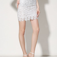 White Crochet Lace High Waisted Pencil Skirt