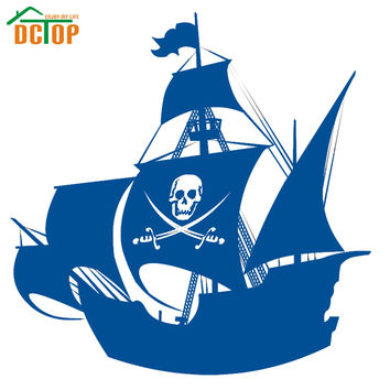 Swords And Skull Pirate Ship Wall Sticker Vinyl Removable Home Decor Hollow Out Child Kids Anime Wall Decals Headboard Poster