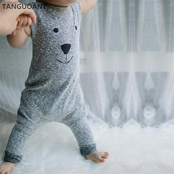 TANGUOANT Hot Sale Newborn Autumn Winter Rompers Cute Toddler Baby Girl Boy Bear Jumpers Rompers Playsuit Outfits Clothes 0-18M