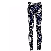 Geometric Cartoon Hands Punk Leggings