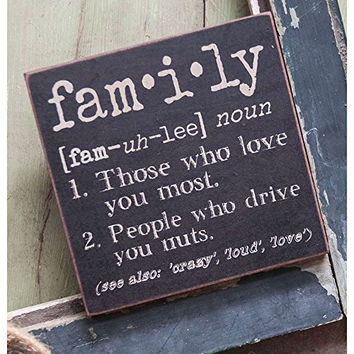 The Definition of Family - Decorative Wood Sign 6-in x 6-in