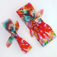 Mommy and Me Matching Rockabilly Tie Dyed Head Scarfs Pinup Women Baby Headband Hair Accessory