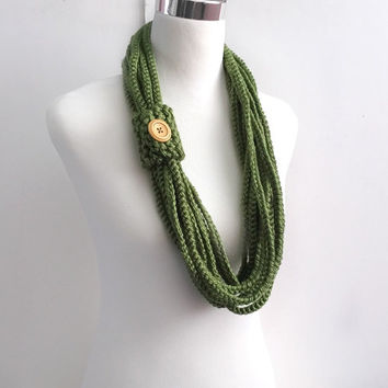 Green color hand crochet chain Infinity scarf - gift or for you