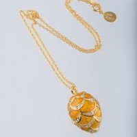Gold & Yellow Egg Pendant Necklace