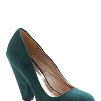 ModCloth Vintage Inspired Everyday Energy Heel in Forest