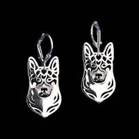 German Shepherd Dog Shaped Drop Dangle Earrings in Silver | Animal Jewelry