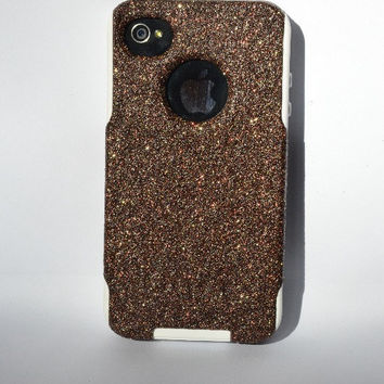 iPhone 4 4s Cute Otterbox Commuter glitter case,  Custom  Glitter Tiger's Eye / White Otterbox Color Cover for iPhone 4 4s