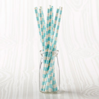 Aqua Striped Straws (Set of 25)