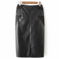 PU Leather Patchwork Midi Pencil Skirt - Black S
