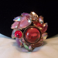 Pink Cabochon Art Glass Rhinestone Gold Plate Vintage Domed Brooch Pin 1 3/4""