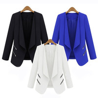 New Office Lady Casual Suit Jacket Zipper Long Sleeve Solid Thin Coat For Spring/Autumn = 1931518020