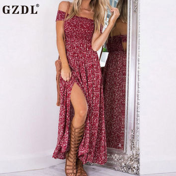 Boho Sexy Strapless Slash Neck Women Retro Party Dress Short Sleeve Floral Print Two Sides Slit Maxi Beach Long Dresses CL3172