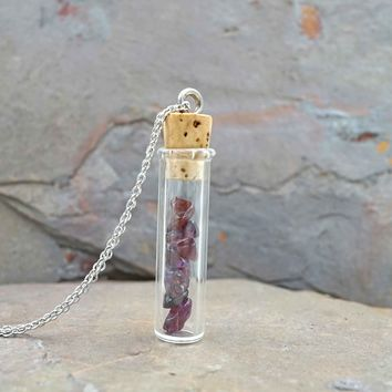 Garnet Vial Aromatherapy Necklace Essential Oil Diffuser Necklace
