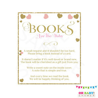 Books for the Baby, Books for Baby Insert, Pink and Gold Baby Shower, Bring a Book Baby Shower Insert, Book Request, Girl, Printable, PGH