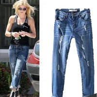 Plus Size Weathered Vintage Ripped Holes Slim Pants Casual Jeans [4918967364]