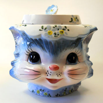 Miss Priss - Vintage 1950s Lefton Cookie Jar 1502, Mid Century Kitsch Cookie Jar, Kitten Kitty Cat, Made in Japan