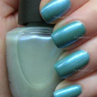 Layering NOTD: OPI ? Breathe Life over Misa ? Dirty, Sexy, Money   The Swatchaholic . a blog about nail polish and makeup