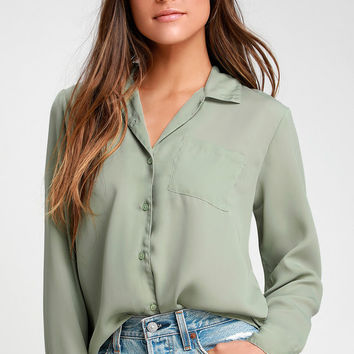 Cuba Libre Sage Green Woven Button-Up Long Sleeve Top