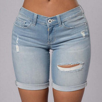 Hole women's jeans women large size denim shorts female sexy low-waist shorts tide