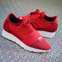 Balenciaga Women Red 'Race Runner' Sneakers