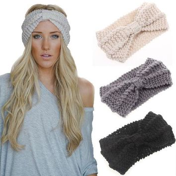 2015 New Knot Knit Headband Bow Crochet Turban Head Wrap Ear Warmer Hair Accessories Women Cable Decoration Winter