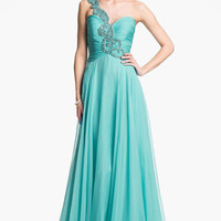 Sherri Hill One Shoulder Embellished Chiffon Gown