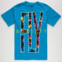 Fly Society Fly Away Paradise Mens T-Shirt Turquoise  In Sizes