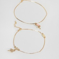 ASOS DESIGN Pack Of 2 Palm Tree & Flamingo Anklets at asos.com