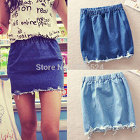 Spring Summer 2015 New Fashion Women Skirts Ripped Vintage Elastic Waist Denim Skirt Jeans High Waist Mini Short Skirts Womens