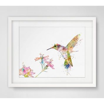 Hummingbird  Watercolor Handmade Hummingbird  Art Print Watercolor Hummingbird  Wall Hanging Hummingbird  Art Paper  Poster Wate