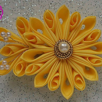 Kanzashi Flower  , Yellow ribbon flower , french barrette clip , hair accessory