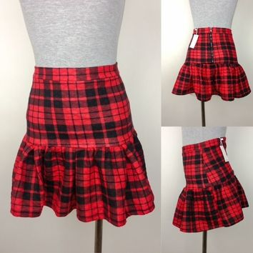 Quilted Plaid Fitted Skirt with Bottom Flare Sizes Small, Medium, or Large