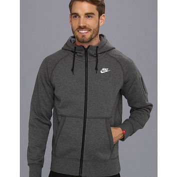 Nike AW77 Fleece FZ Hoodie Charcoal Heather/White - Zappos.com Free Shipping BOTH Ways