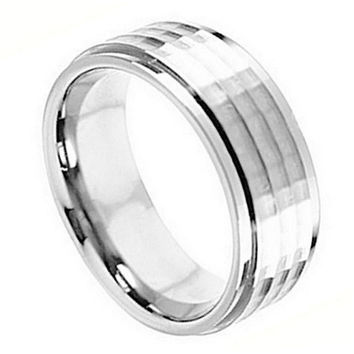 Cobalt Chrome Stepped Down Edge Hammered Center Mens/Womens Wedding Band Ring (9mm): Size  10