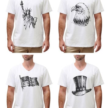 Independence Day (United States) Cotton V-neck Men T-shirt MTS_02
