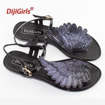 2017 summer fashion Jelly sandals women shoes female fashion flat flip wings personali