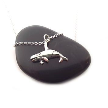 Orca Killer Whale Charm Sterling Silver Necklace