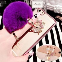 Luxury Bling Bow Fur Ball Clear Electroplating Phone Cases Soft TPU Cover For iPhone 5S 6S 7 Plus Samsung S8 S5 S6 S7 S7 Edge J5 J7 A5 A3