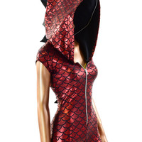 Red Dragon Scale Zipper Front Cap Sleeve Romper with Spikes & Zipper