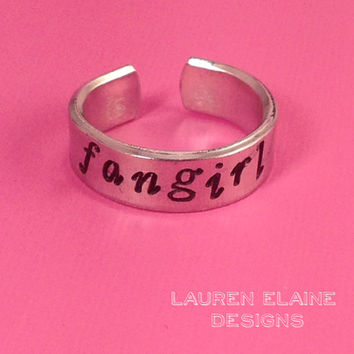 Fangirl Hand Stamped Aluminum Ring- You Choose the Font