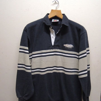 15% CRAZE SALE Vintage 90's Whistler Canada By Barbarians Rugby Wear Stripe Long Sleeve Polos Sport Street Wear Top Tee Size L