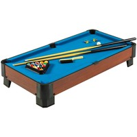 40-inch Pool Table with Blue Felt Surface 2 Cues & Billiard Balls