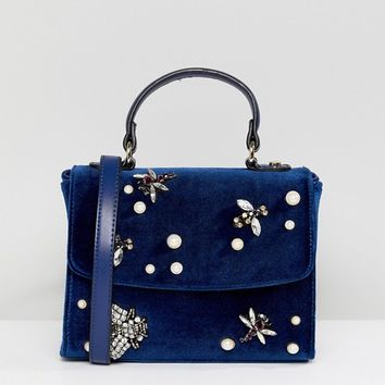 ASOS Velvet Cross Body Bag with Bug & Pearl Detail at asos.com