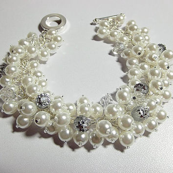 Wedding Jewelry, Pearl Crystal Silver Bracelet, Mom Sister Bridesmaid, Chunky Bracelet, Cocktail, Valentines Day