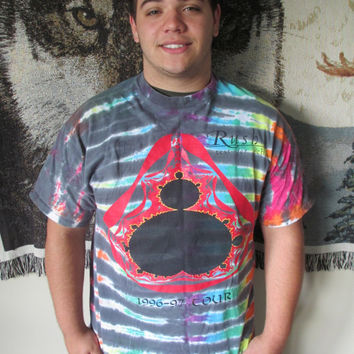 Vintage Tie Dye RUSH Concert Tee Shirt- Test for Echo Tour- Multicolor Rainbow Tie Dye Tee